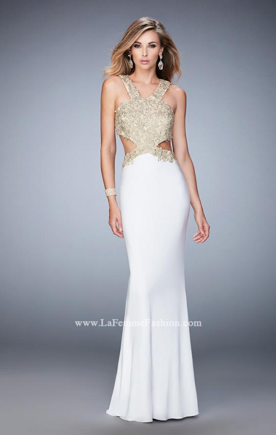 Picture of: Racer Back Jersey Prom Dress with Gold Embroidery, Style: 22325, Detail Picture 3