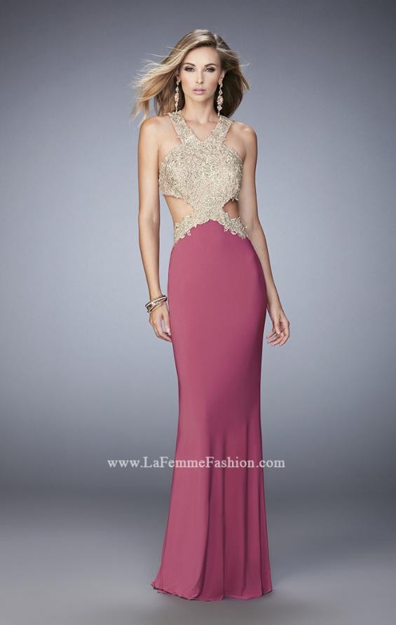 Picture of: Racer Back Jersey Prom Dress with Gold Embroidery, Style: 22325, Detail Picture 4