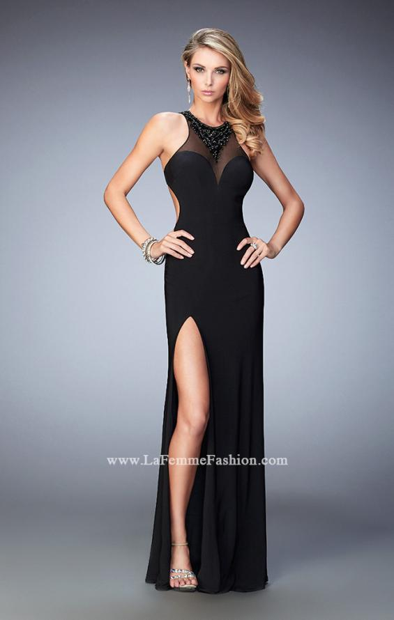 Picture of: Open Back Long Prom Dress with Beaded Detail and Slit in Black, Style: 22326, Main Picture