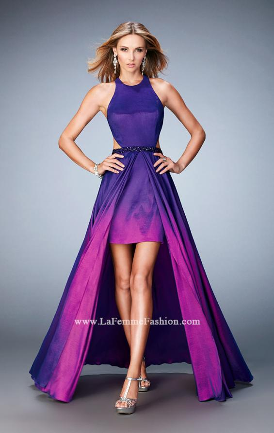 Picture of: Taffeta High-Low Prom Dress with Unique Ombre Effect in Purple, Style: 22328, Detail Picture 1