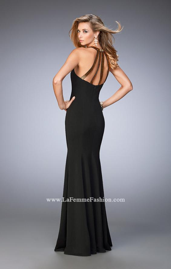 Picture of: Long Jersey Prom Dress with Embellished Straps in Black, Style: 22329, Back Picture