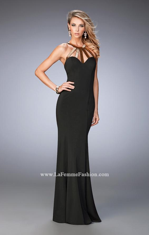 Picture of: Long Jersey Prom Dress with Embellished Straps in Black, Style: 22329, Detail Picture 1