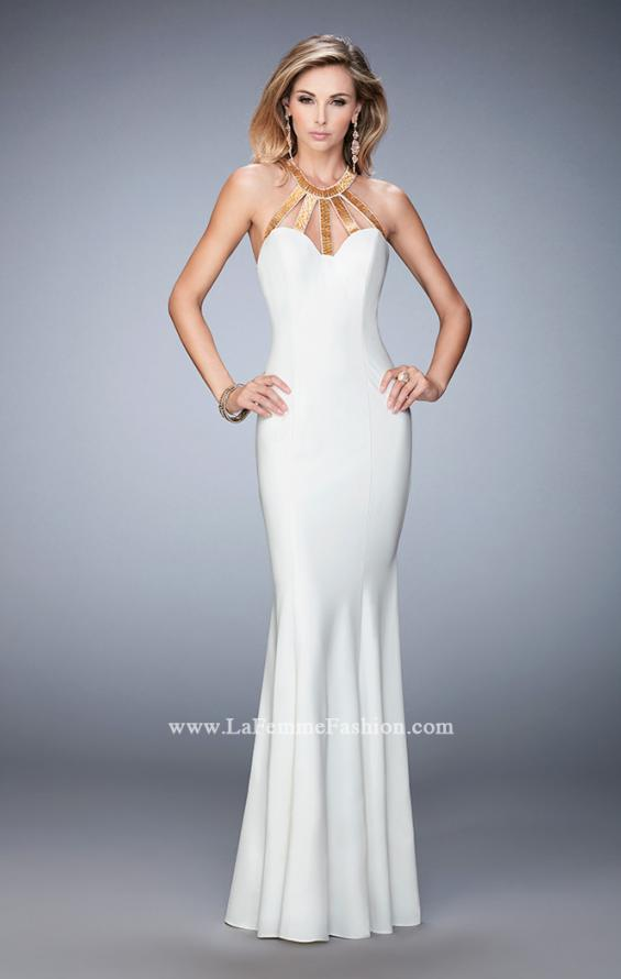 Picture of: Long Jersey Prom Dress with Embellished Straps, Style: 22329, Detail Picture 2