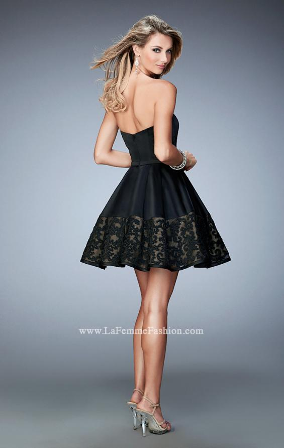 Picture of: Short Satin Dress with Lace Hem and Pockets, Style: 22330, Back Picture