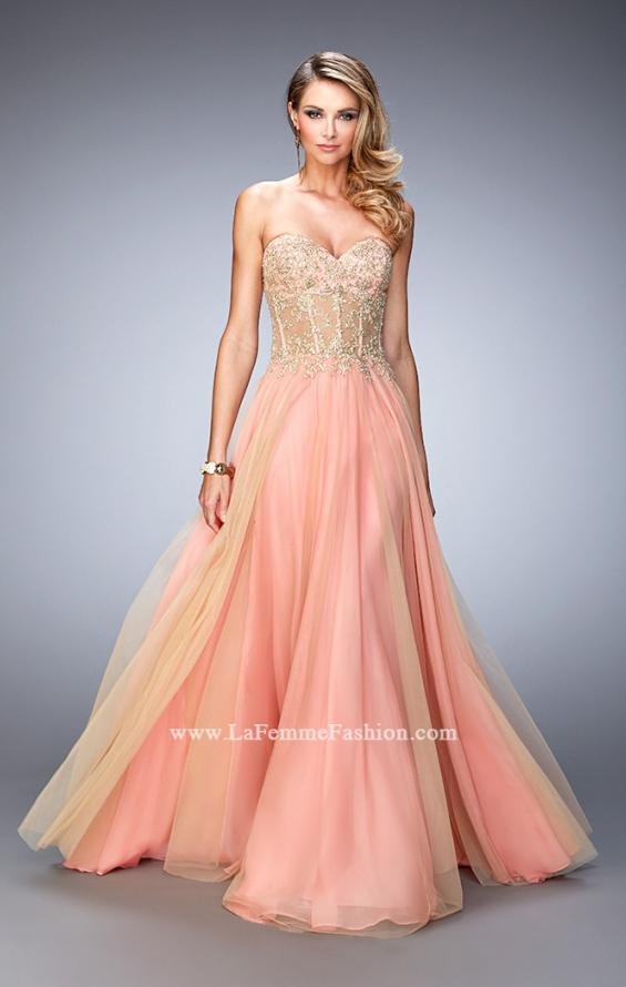 Picture of: Elegant Gown with Gold Sequin Lace and Sheer Detail, Style: 22331, Main Picture
