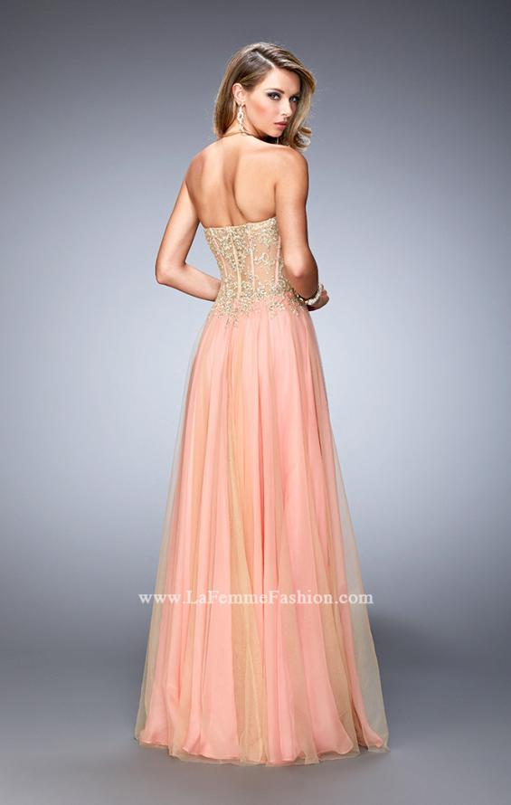 Picture of: Elegant Gown with Gold Sequin Lace and Sheer Detail, Style: 22331, Back Picture