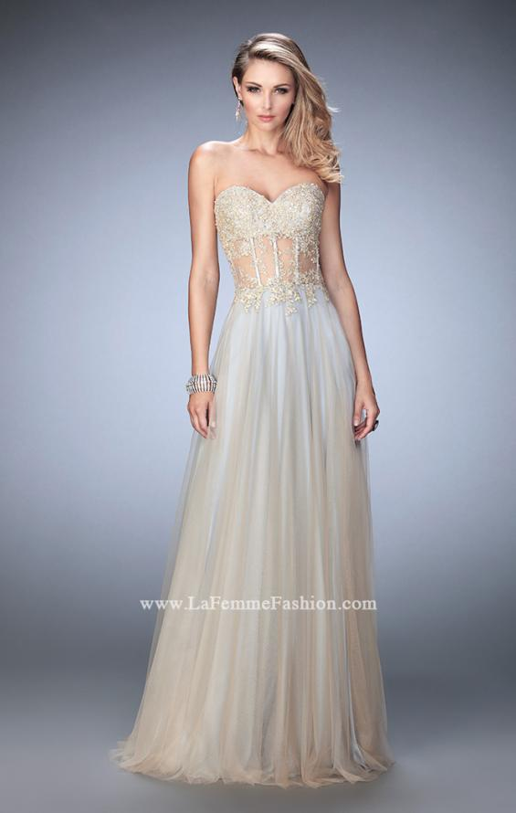 Picture of: Elegant Gown with Gold Sequin Lace and Sheer Detail, Style: 22331, Detail Picture 1