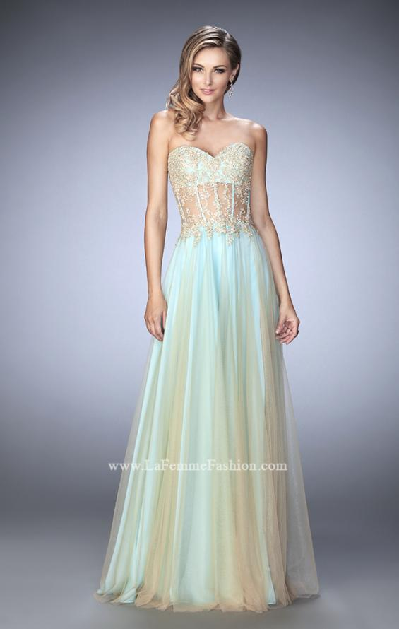 Picture of: Elegant Gown with Gold Sequin Lace and Sheer Detail, Style: 22331, Detail Picture 2