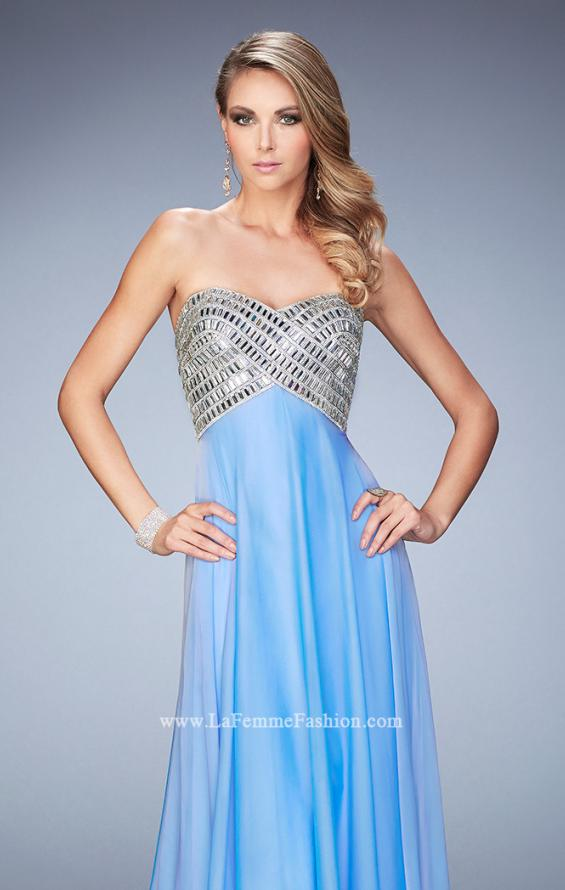 Picture of: Long Chiffon Prom Dress with Open Back and Silver Beads, Style: 22334, Main Picture