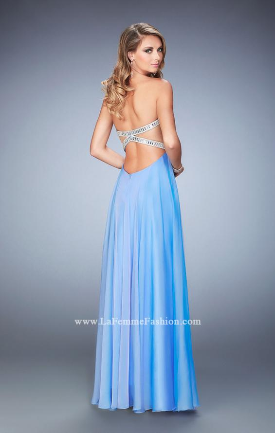 Picture of: Long Chiffon Prom Dress with Open Back and Silver Beads, Style: 22334, Back Picture