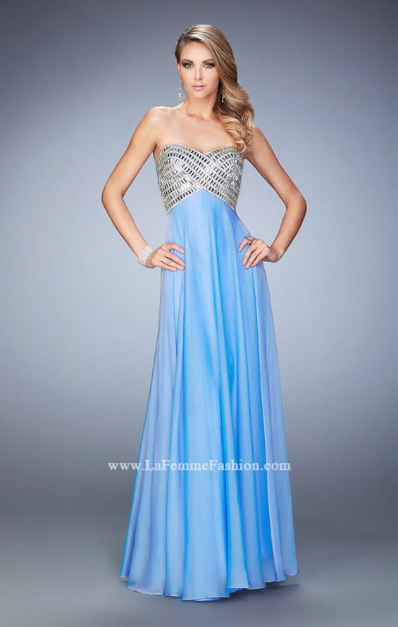 Picture of: Long Chiffon Prom Dress with Open Back and Silver Beads, Style: 22334, Detail Picture 1