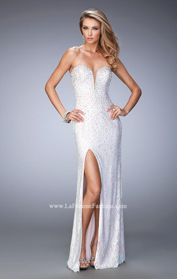 Picture of: Lace Gown with Pearl and Crystal Detail and Side Slit in White, Style: 22335, Main Picture