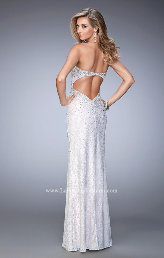 Picture of: Lace Gown with Pearl and Crystal Detail and Side Slit in White, Style: 22335, Back Picture