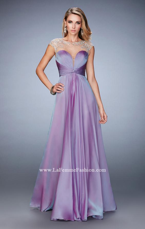 Picture of: Long Chiffon Prom Dress with Gathered Bodice and Skirt, Style: 22338, Main Picture