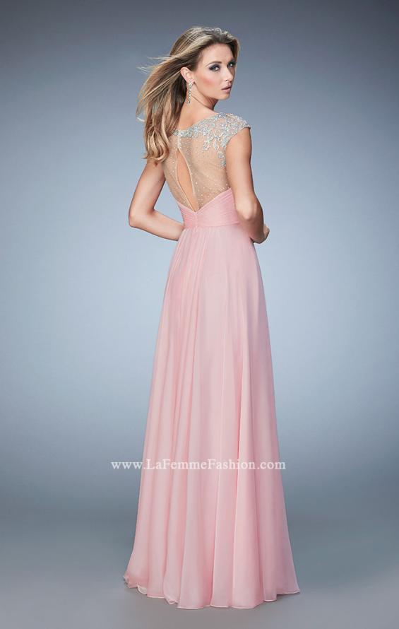 Picture of: Long Chiffon Prom Dress with Gathered Bodice and Skirt, Style: 22338, Back Picture