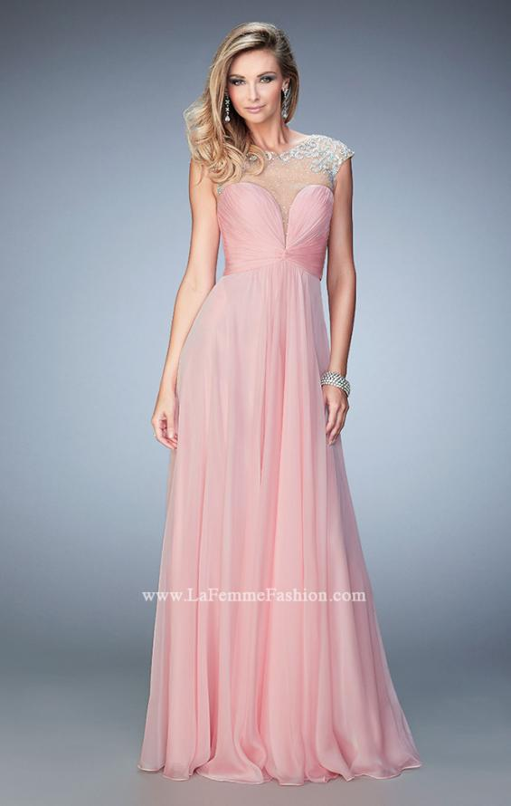 Picture of: Long Chiffon Prom Dress with Gathered Bodice and Skirt, Style: 22338, Detail Picture 1
