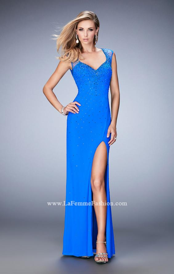 Picture of: Rhinestone Embellished Dress with Sheer Straps and Back in Blue, Style: 22343, Main Picture