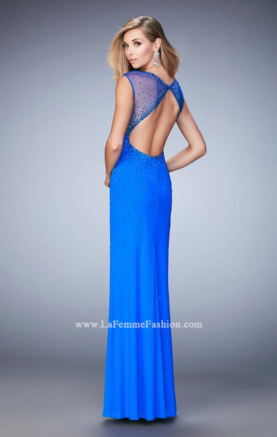 Picture of: Rhinestone Embellished Dress with Sheer Straps and Back in Blue, Style: 22343, Back Picture