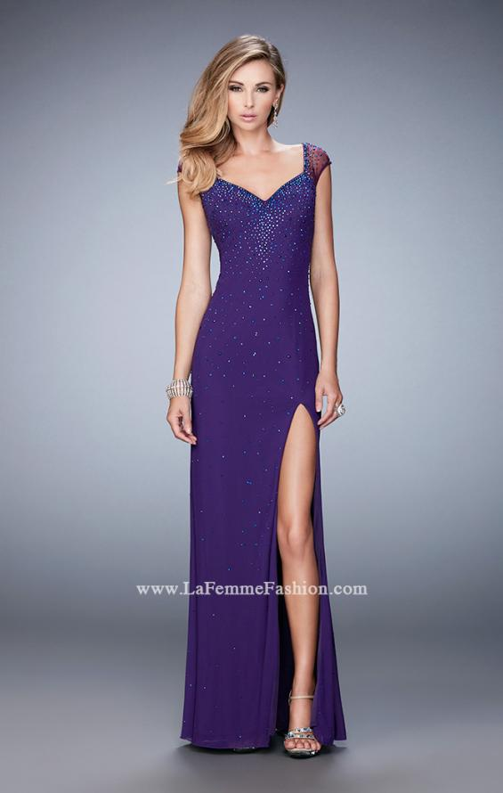 Picture of: Rhinestone Embellished Dress with Sheer Straps and Back in Purple, Style: 22343, Detail Picture 1