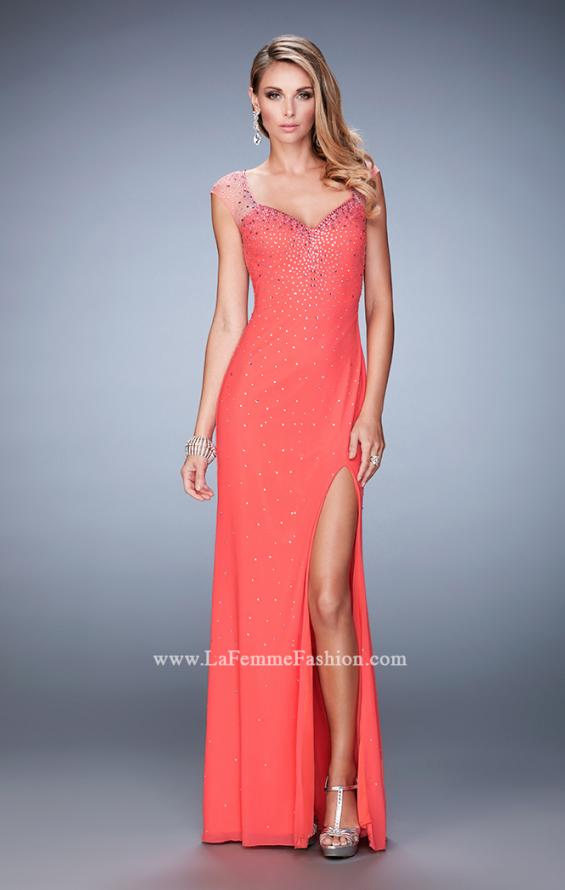 Picture of: Rhinestone Embellished Dress with Sheer Straps and Back in Orange, Style: 22343, Detail Picture 2