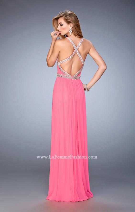 Picture of: Crystal Encrusted Prom Gown with Side Leg Slit in Pink, Style: 22347, Back Picture