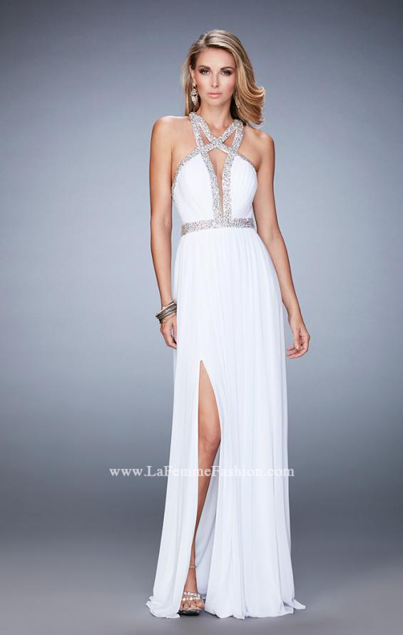 Picture of: Crystal Encrusted Prom Gown with Side Leg Slit in White, Style: 22347, Detail Picture 2