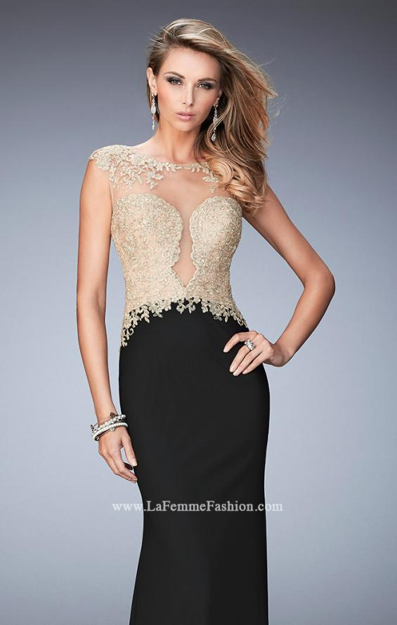Picture of: Illusion Neckline Prom Dress with Gold Lace Detail, Style: 22349, Main Picture