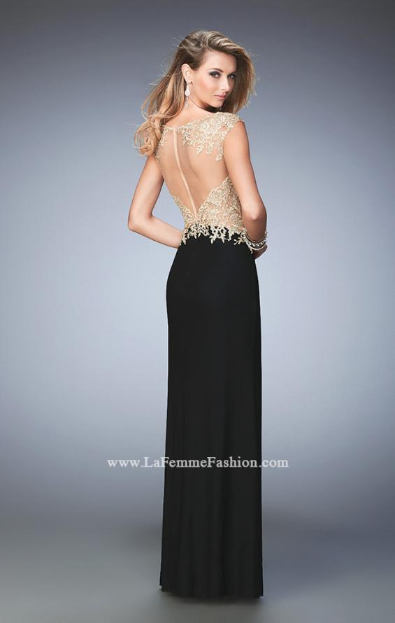 Picture of: Illusion Neckline Prom Dress with Gold Lace Detail, Style: 22349, Back Picture