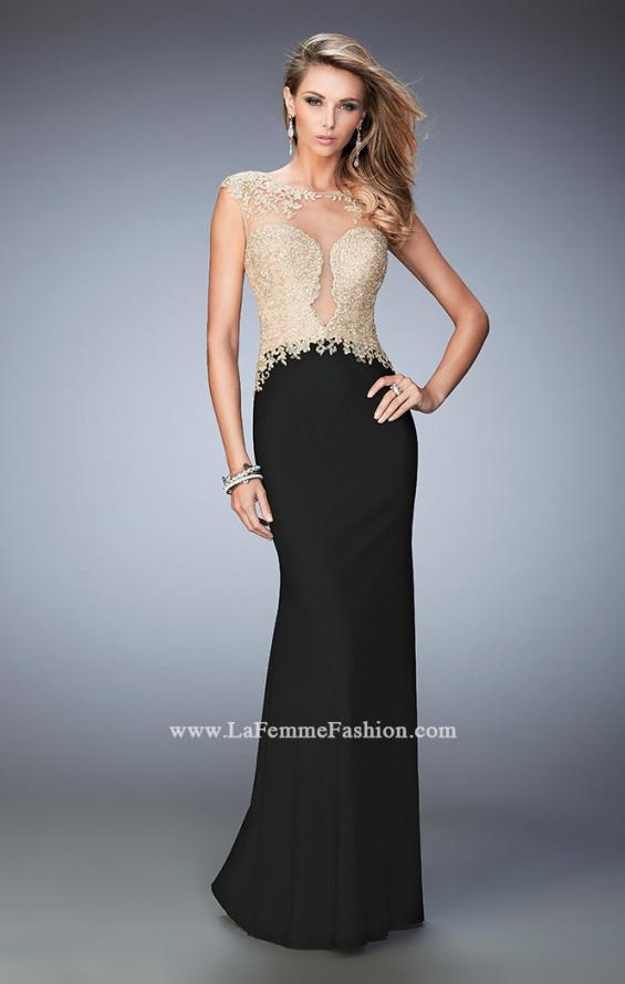 Picture of: Illusion Neckline Prom Dress with Gold Lace Detail in Black, Style: 22349, Detail Picture 1
