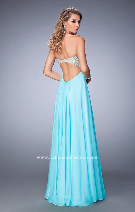 Picture of: Empire Waist Prom Dress with Crystal and Pearl Bodice in Blue, Style: 22363, Back Picture