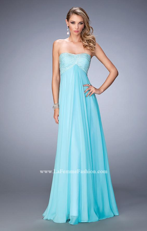 Picture of: Empire Waist Prom Dress with Crystal and Pearl Bodice in Blue, Style: 22363, Detail Picture 1