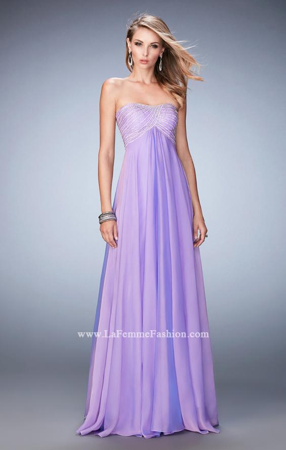 Picture of: Empire Waist Prom Dress with Crystal and Pearl Bodice in Purple, Style: 22363, Detail Picture 2