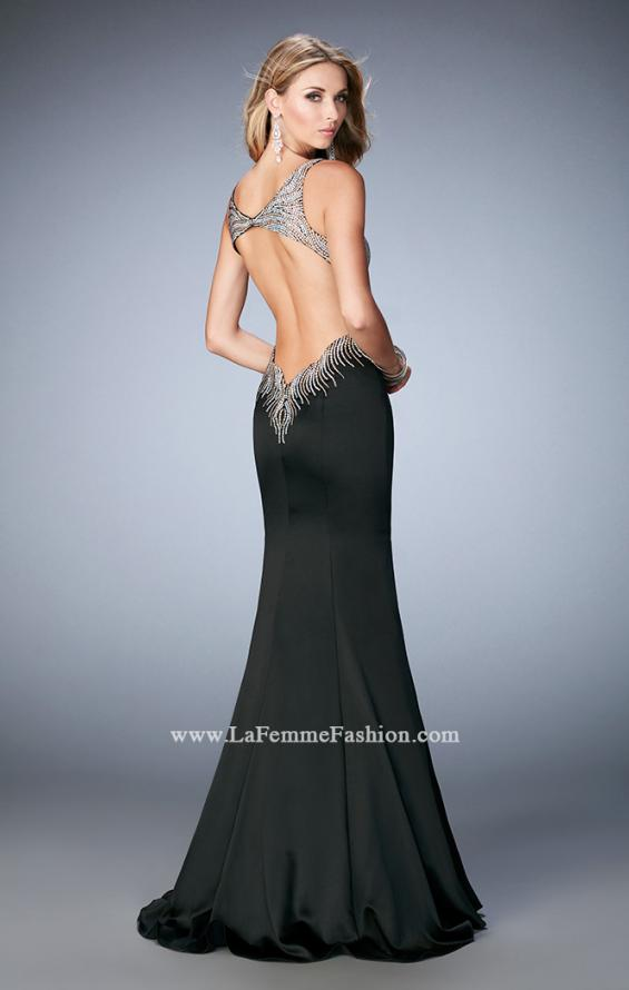 Picture of: Satin Mermaid Gown with Open Back and Cascading Beads in Black, Style: 22365, Back Picture