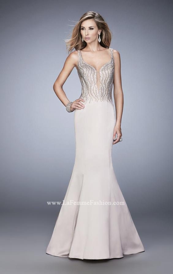 Picture of: Satin Mermaid Gown with Open Back and Cascading Beads in Nude, Style: 22365, Detail Picture 1
