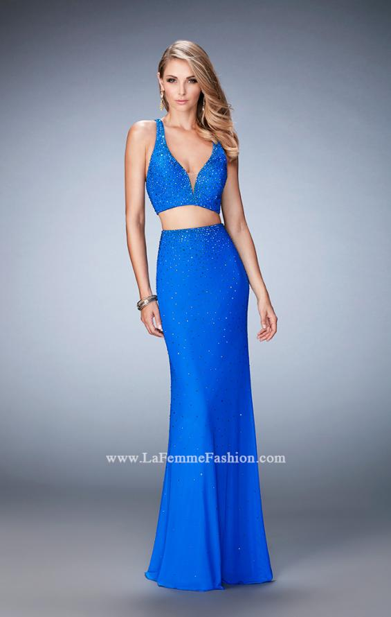 Picture of: Rhinestone Two Piece Dress with Diamond Open Back in Blue, Style: 22368, Main Picture
