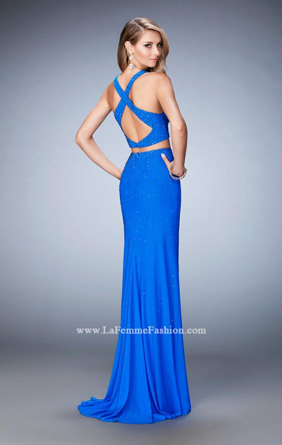 Picture of: Rhinestone Two Piece Dress with Diamond Open Back in Blue, Style: 22368, Back Picture