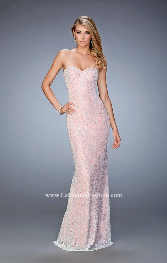Picture of: Lace Prom Gown with Beaded Straps and Open Back in Pink, Style: 22371, Main Picture