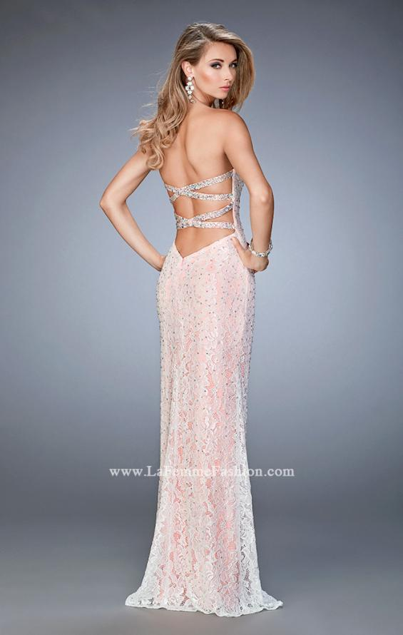 Picture of: Lace Prom Gown with Beaded Straps and Open Back in Pink, Style: 22371, Back Picture