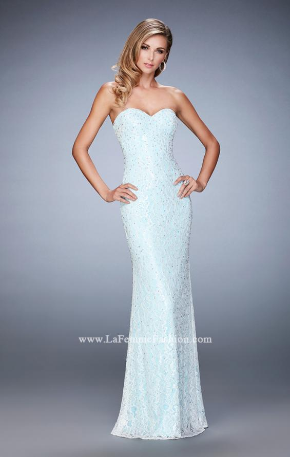 Picture of: Lace Prom Gown with Beaded Straps and Open Back in Blue, Style: 22371, Detail Picture 1
