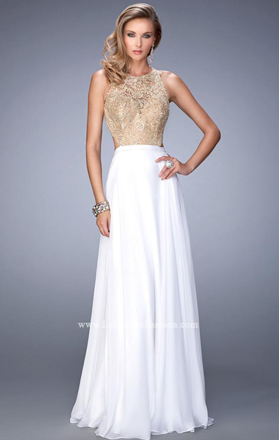 Picture of: Gold Lace Embellished High Neckline Prom Dress, Style: 22372, Main Picture