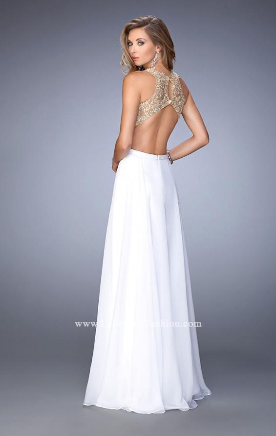 Picture of: Gold Lace Embellished High Neckline Prom Dress, Style: 22372, Back Picture