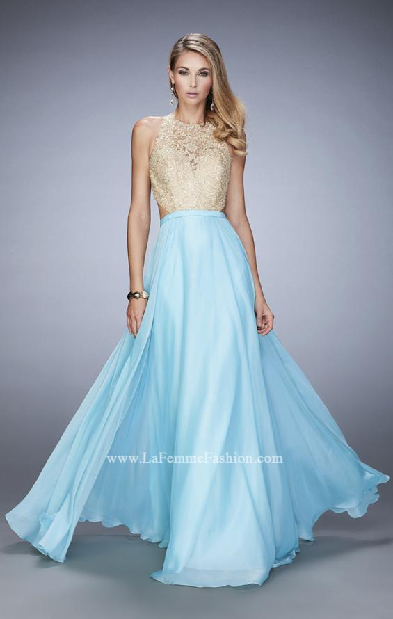 Picture of: Gold Lace Embellished High Neckline Prom Dress, Style: 22372, Detail Picture 1