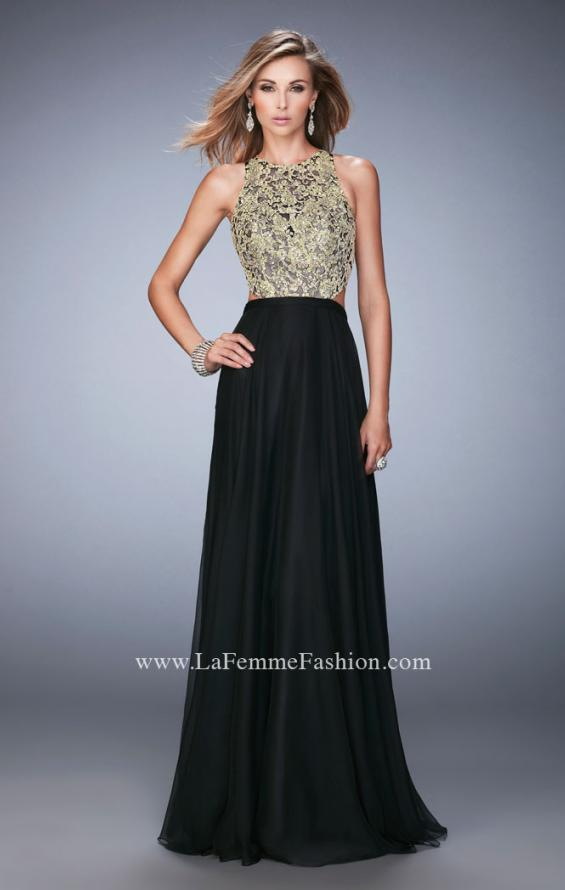 Picture of: Gold Lace Embellished High Neckline Prom Dress, Style: 22372, Detail Picture 2