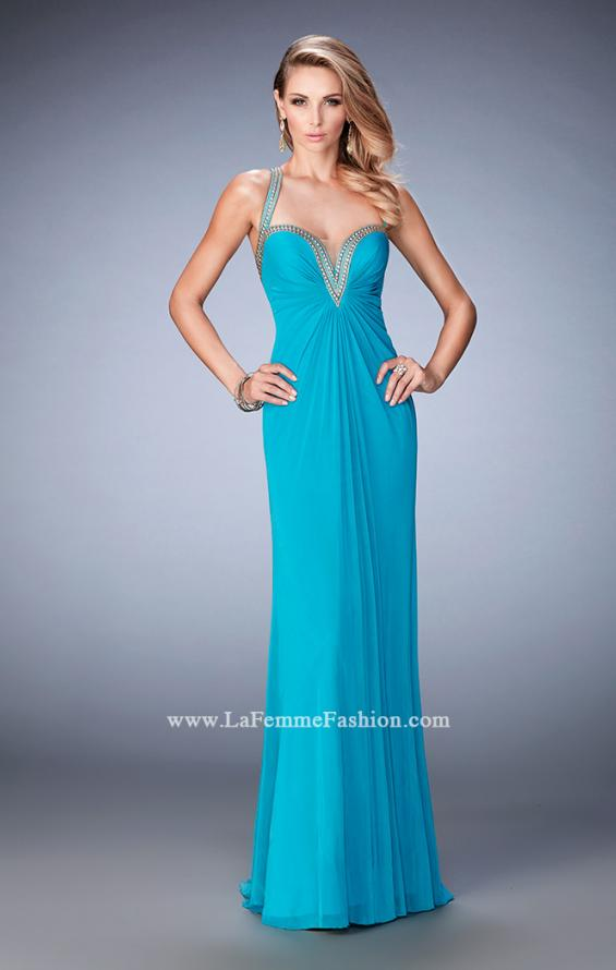 Picture of: Gold Stud Embellished Prom Dress with Open Back in Blue, Style: 22374, Main Picture