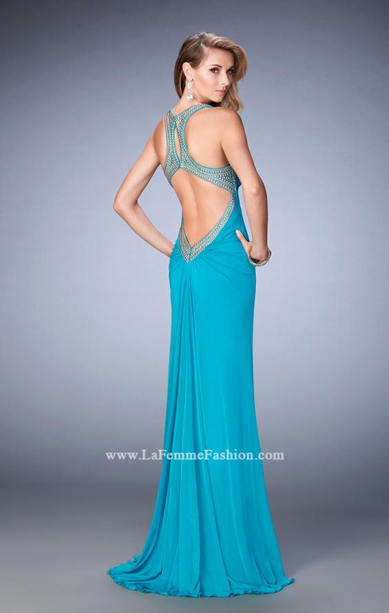 Picture of: Gold Stud Embellished Prom Dress with Open Back in Blue, Style: 22374, Back Picture