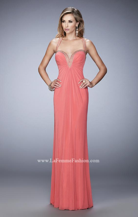 Picture of: Gold Stud Embellished Prom Dress with Open Back in Orange, Style: 22374, Detail Picture 1