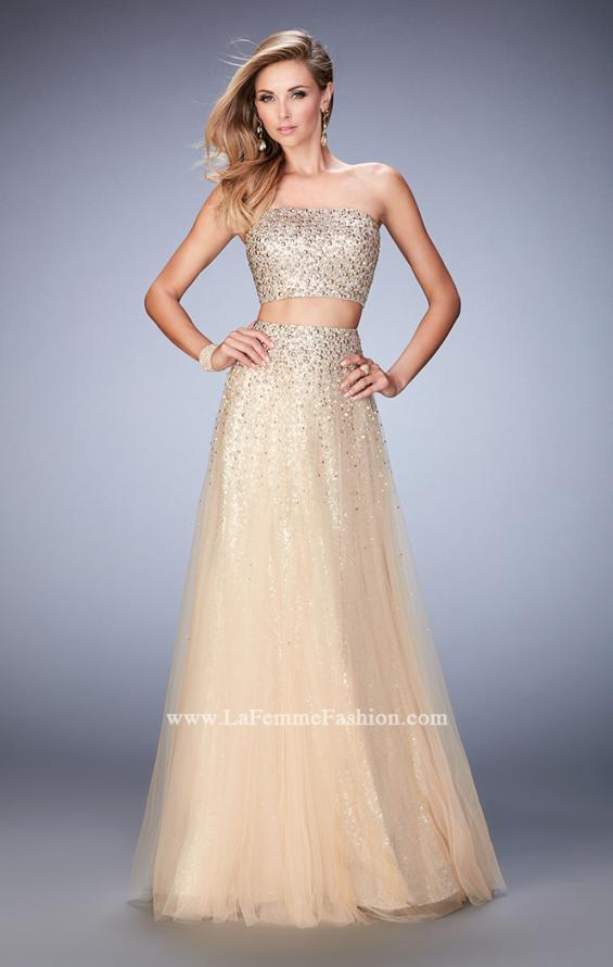 Picture of: Two Piece Tulle Gown with Rhinestone Bandeau Top in Nude, Style: 22379, Main Picture