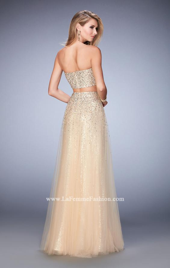 Picture of: Two Piece Tulle Gown with Rhinestone Bandeau Top in Nude, Style: 22379, Back Picture