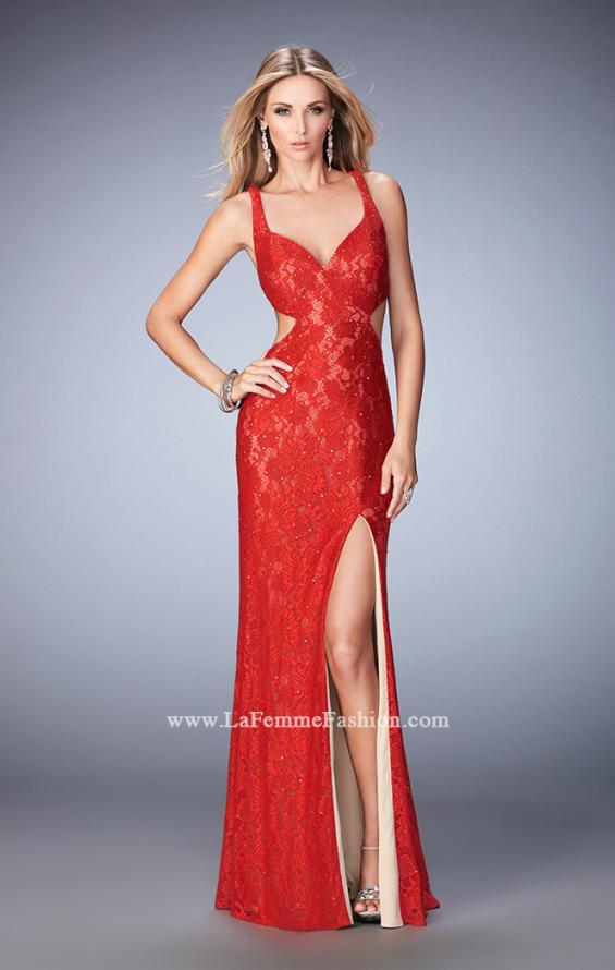 Picture of: Elegant Lace Prom Dress with Cut Outs and Rhinestones, Style: 22381, Back Picture