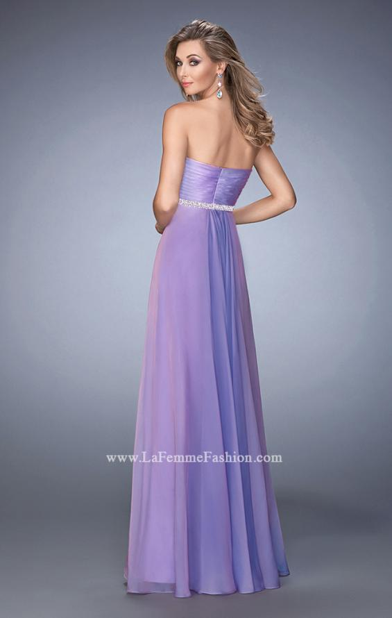 Picture of: Chiffon Prom Dress with Crystal and Pearl Detailed Band in Purple, Style: 22382, Back Picture